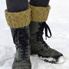 Ravelry: Entangled Boot Cuffs pattern by Melissa Burke Knitted Boot Cuffs, Knit Boots, Knitting Socks, Knitting Projects, Knitting Patterns, Boot Toppers, Purl Stitch, Stylish Boots, Cold Weather Fashion