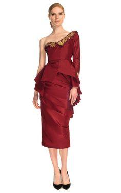 Taffeta One-Shoulder Cocktail Dress by Marchesa for Preorder on Moda Operandi