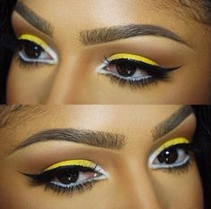Great choice in pop of color for tan skin tone #mattemakeup #yelloweyeshadow #whiteliner #browneyes