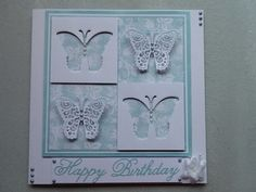 Turquoise and white butterfly birthday card
