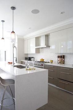 hexagon tile backsplash, modern cabinetry Most beautiful kitchen!!