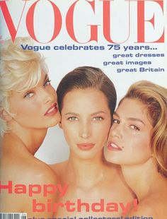 "June 1991        Editor Elizabeth Tilberis      Cover Herb Ritts      Model Linda Evangelista    Vogue celebrates 75 years with a special collectors' edition with Linda Evangelista, Christy Turlington and Cindy Crawford on the cover. ""These exemplars of a new model generation have an attitude and professionalism that have set new standards; they make it their business to project all the different faces of modern womanhood."