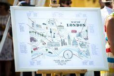 London Map Table Plan Wedding