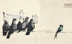 """New #Banksy mural, pigeons holding anti-immigration banners, destroyed following complaint it was """"racist"""". #UK - The local council which removed it, said it did not know it was by Banksy, conceding that the artist's political satire was lost on them"""