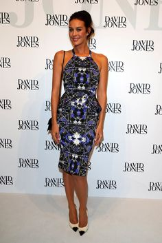 Megan Gale looked turbo-polished in a printed Scanlan and Theodore pencil dress // Front Row at David Jones SS '13 Fashion Launch