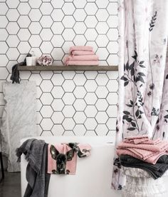 Black and white bathroom with blush and grey towels! Bathroom Towels, Bathroom Shower Curtains, Bath Towels, Blush Bathroom, Grey Bathrooms, Pink Towels, Gray And White Bathroom, Blush And Grey, Downstairs Loo