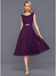 7f66d5b8a8f A-Line Princess Cowl Neck Knee-Length Chiffon Cocktail Dress With Beading  Sequin… - Noel - christmas