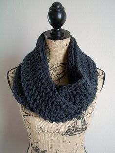 chunky pure wool crocheted infinity scarf  by LittleDillyDesigns