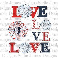 4th of July Love monogram SVG, cricut & silhouette cutting file.