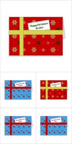 Family christmas cards, in the style of christmas parcels with a gift tag. For individuals and family groups eg for Great Grandma, for Brother and family