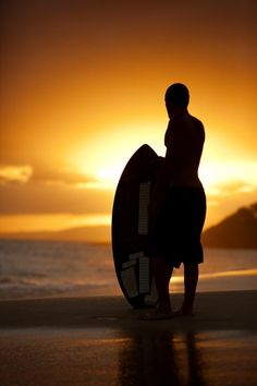 Hawaii, Maui, Makena, Skimboarder silhouette at sunset Maui, Hawaii, Sup Surf, Surf City, Water Photography, Windsurfing, Big Waves, Surfs Up, Unique Art