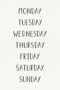 The weekdays typography set Free Vector Bullet Journal 2020, Bullet Journal Ideas Pages, Bullet Journal Inspiration, Book Journal, Hand Lettering Alphabet, Calligraphy Letters, Journal Aesthetic, Lettering Tutorial, Good Notes