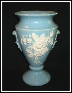 Weller Blue Cameo Rose Tall Vase