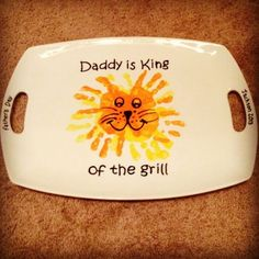 Daddy Is King Of The Grill Plate. Projects like this are great for kids of almost any age, because it is mostly about the drawing, and more often than not, it looks cuter when it's less perfect. This can be done simply with permanent markers for a more lasting result.