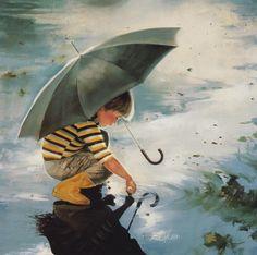 Beautiful painting - A boy is playing in rain water. Follow us www.pinterest.com/webneel