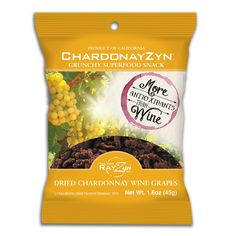 Looking for a healthy snack on the go? Enjoy the ChardonayZyn package. Each bag from RayZyn is great for snacking and has more antioxidants than a glass of wine. Wine Chillers, Chardonnay Wine, Superfood, Healthy Snacks, Canning, Drinks, Image Link, Glasses, Bag