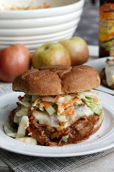 BBQ Apple Pulled Pork Sandwiches | over the top, delicious sandwiches! A game day favorite!