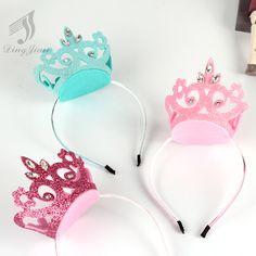 1 PC Lovely Princess Crystal Crown Solid Hairba,nd Kids Hair Accessories Children Party Birthday Hair Clip Girl Hairpins Birthday Hair, Kids Hair Accessories, Diy Hair Bows, Diy Hairstyles, Diy For Kids, Hair Pins, Headbands, Diy And Crafts, Creations