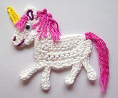 Crochet Animal Appliques | unicorn crochet applique handcraft