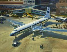 'Bristol Britannia' at Heathrow Airport by Frank Wootton.  Date painted: c.1975.