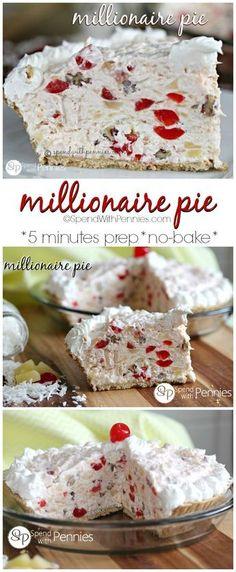 Millionaire Pie! This easy pie is one of my favorite NO BAKE desserts! Low Carb Dessert, Pie Dessert, Dessert Recipes, Cake Recipes, Easy Desserts, Delicious Desserts, Yummy Food, Baking Desserts, Health Desserts