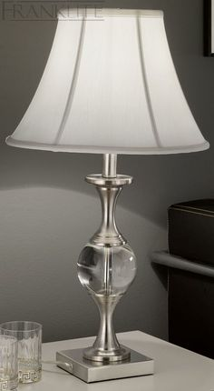FRANKLITE THE HUGO COLLECTION TAPERED SQUARE SHADE CRYSTAL GLASS TABLE LAMP