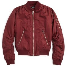 Women's Topshop Ma1 Bomber Jacket ($100) ❤ liked on Polyvore featuring outerwear, jackets, tops, coats & jackets, burgundy, petite, flight bomber jacket, burgundy jacket, blouson jacket and red jacket