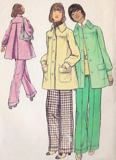 Back Pleat Smock Jacket Coat and High-Waisted Wide Leg Cuffed Pants | Sew These Inspiring Vintage Sewing Patterns For An Ultimate Throwback