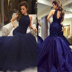 Navy halter mermaid evening prom dresses, long open back evening prom dress, beaded prom Navy Blue Prom Dresses, Prom Dresses 2017, Junior Bridesmaid Dresses, Mermaid Prom Dresses, Cheap Prom Dresses, Prom Party Dresses, Pageant Dresses, Sexy Dresses, Girls Dresses