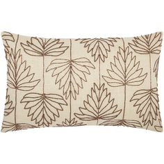 Mina Victory Luminescence Beaded Lily Leaves Copper Throw Pillow by Nourison