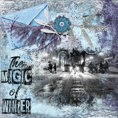 The magic of winter Purple And Black, Digital Scrapbooking, Layout, Magic, Winter, Movie Posters, Art, Winter Time, Art Background