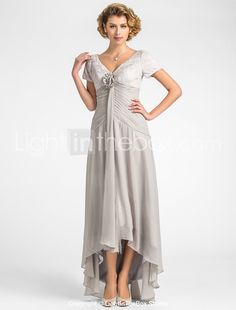 A-line Plus Sizes / Petite Mother of the Bride Dress - Silver Asymmetrical Short Sleeve Lace / Chiffon 2015 – $99.99