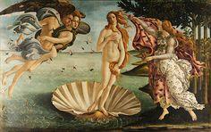 Sandro Botticelli - De geboorte van Venus, geschilderd tussen 1483 en 1485, heeft precies de afmetingen van de gulden rechthoek
