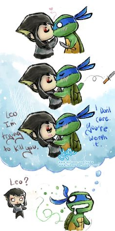"""OP: """"Silly comic I wanted to draw after seeing """" The Deadly Venom."""" When Karai kissed Casey to infect him with deadly venom, I thought FOR SURE the whole episode was going to be silly shenanigans with Karai giving everyone a """"kiss of death"""". The episode was funny, but no stupid clichéd cheap shot. I was kind of...disappointed XD So I drew what it might have been like if Karai went around kissing all the turtles. Even if it's not accurate, I hope you're at least amused xD""""   TMNT 2012"""