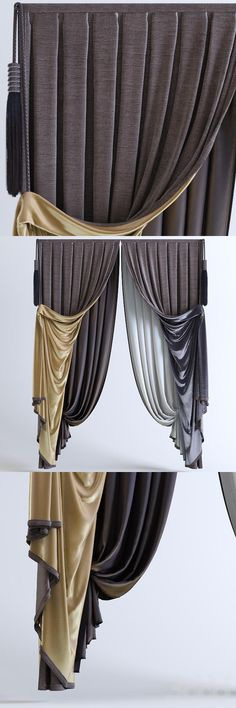 [Шторы классика] box pleat layered drapes with contrast lining