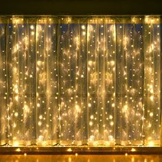 Leapair Curtain Lights X 8 Modes Warm White Outdoor Fairy String Light Led Window For Christmas Xmas Wedding Party Home Decoration With Memory