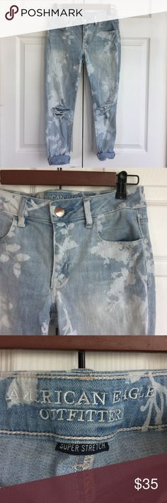 AE Floral Wash Crops ankle length, only worn twice American Eagle Outfitters Jeans Ankle & Cropped