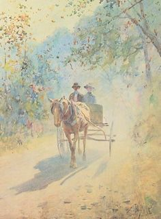 On A Sunday Afternoon, Paul Sawyier, American impressionist. This reminds me of a photo of my grandparents. Romantic Paintings, Beautiful Paintings, American Impressionism, Impressionist, Horse And Buggy, Art Walk, Portraits, Lovers Art, Sculptures