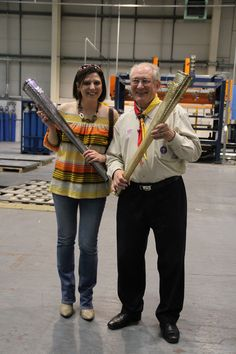 Anne and father Dow on the Olympic Torch factory tour.