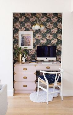 Closet Turned Into A Vintage Hollywood Glam Office   Campaign Desk With  Floral Wallpaper And Art