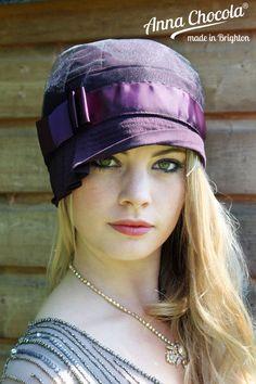 1920s FLAPPER CLOCHE Inès HAT Purple CUSTOM MADE BESPOKE Anna Chocola ® Brighton