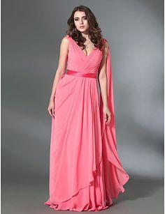 Chiffon Sheath/Column V-neck Floor-length Evening Dress inspired by Rebecca Hall Violante Placido