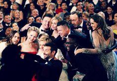 Oscar selfie. Bradley Cooper, Ellen DeGeneres, Meryl Streep, Julia Roberts, Brad Pitt, Angelina Jolie, Jared Leto, Kevin Spacey & Lupita Nyongo. LOVE IT. Oscars group shot. #Oscars.