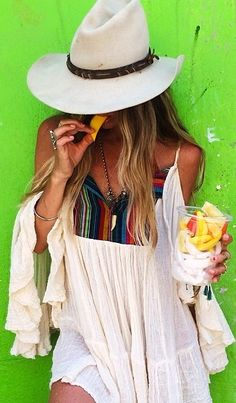 boho chic peasant top with modern hippie hat. For the BEST Bohemian fashion trends FOLLOW https://www.pinterest.com/happygolicky/the-best-boho-chic-fashion-bohemian-jewelry-gypsy-/ now