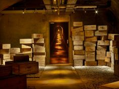 Wine cellar, Veuve Cliquot mansion wines, stairs, champagne, boxes, france, wine cellars, mansions, hotels