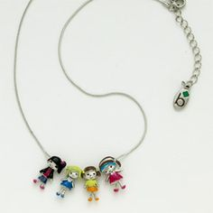 """BROWNIE FRIENDS NECKLACE #12028 $12.00 A pretty chain with four girl pals and Brownie shorthand dangle tag. Silvertone. 16"""" chain extends to 18"""". Imported."""