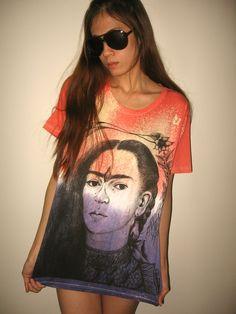 Frida Kahlo Mexican Icon Art Pop Rock T-Shirt Size M.