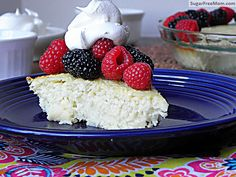 Sugar Free Crustless Coconut Custard Pie {Dairy Free, Gluten Free & Low Carb} - 9 net carbs per serving Diabetic Desserts, Sugar Free Desserts, Sugar Free Recipes, Gluten Free Desserts, Diabetic Recipes, Bariatric Recipes, Diabetic Foods, Low Carb Sweets, Low Carb Desserts