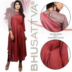 Fashion should be about challenging the status quo. - Dilys Williams.  Flaunt this pleated dress with mandarin collar.  #Bhusattva #Organic #Pret #Couture #PleatedDress #MandarinCollar #HandEmbroidered #SkinFriendly #BreatheEasy #ReflectOrganic #RevealYourself #iWearBhusattva #BelieveWhatYouWear #TrustNature #MysticalNature #CloseToNature #OrganicIdeology #OrganicCollection #NaturalDyes #EcoFashion #OrganicFashion #SustainableFashion #GoOrganic #WearOrganic #DesignerLabel #DesignerWear
