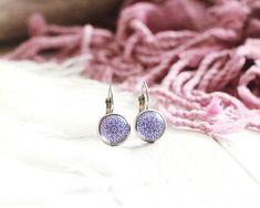 Boucles d'oreilles Sinbad, pendantes, acier inoxydable, motif graphique, violet, mille et une nuits, pour femme
